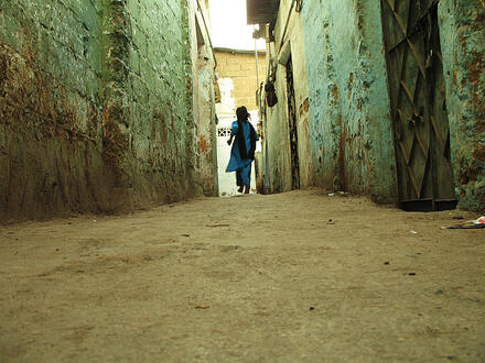 scared girl in alley